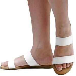 New White Comfy Sole Two Band Slip On Slide Sandal